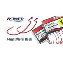 Крючки офсетные Owner 5109  J-LIGHT WORM HOOK